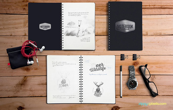 Free-PSD-Notebook-Mockup-for-Branding-700x448 Grab these notebook mockup templates for free (plus Premium ones)