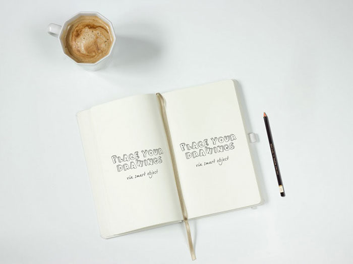 Notebook-with-Pencil-Mockup-700x525 Grab these notebook mockup templates for free (plus Premium ones)