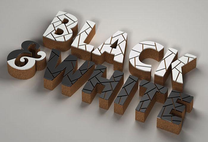 Mosaic-cork Photoshop 3D text tutorials you should check out