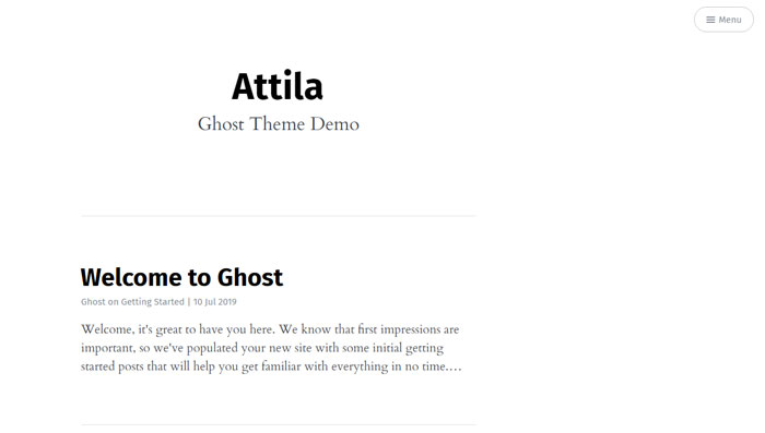 Atilla Ghost template examples and themes, you should check out