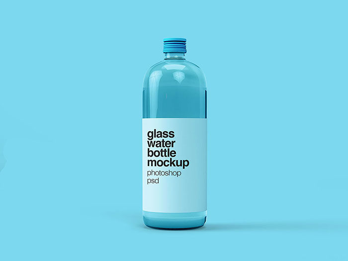 Free-Glass-Water-Bottle-Mockup-700x525 Download a water bottle mockup from these templates