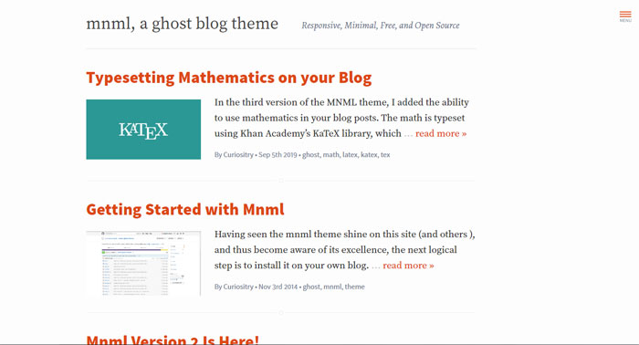 Mnml Ghost template examples and themes, you should check out