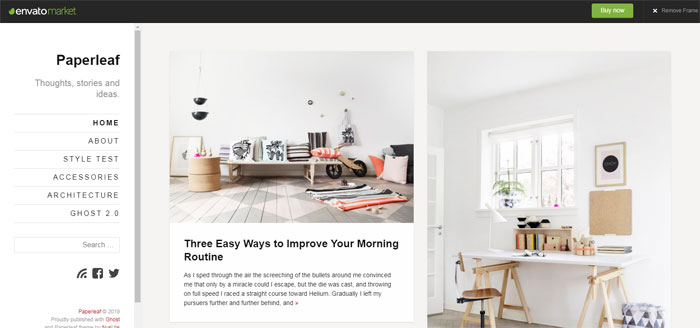 Paperleaf Ghost template examples and themes, you should check out