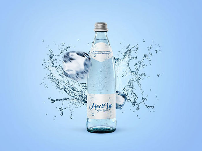 Water-Bottle-Label-Mockup-In-PSD-700x525 Download a water bottle mockup from these templates