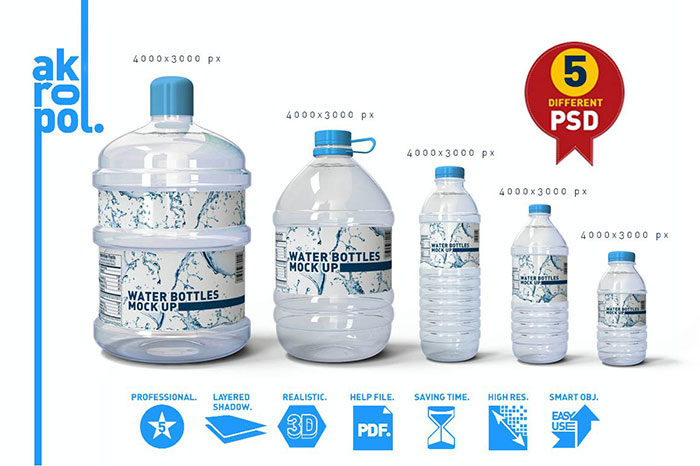 Water-Bottles-Mock-up-700x466 Download a water bottle mockup from these templates