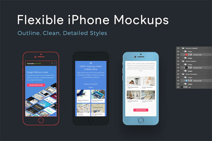 Flexible-iphone Phone mockup examples that you can quickly download