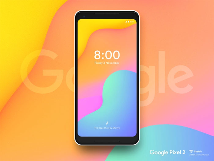 Google-pixel-2 Phone mockup examples that you can quickly download