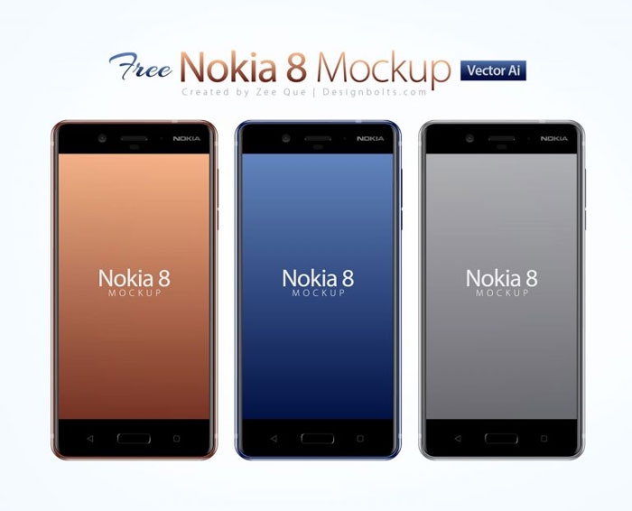 Nokia-8 Phone mockup examples that you can quickly download