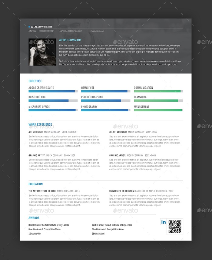 s1-383 InDesign resume template examples that look absolutely great