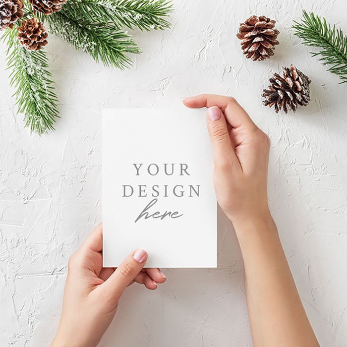 Christmas-Card-Mockup Top greeting card mockup templates and designs to pick from