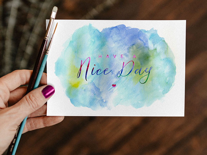 Free-Watercolor-Painting Top greeting card mockup templates and designs to pick from