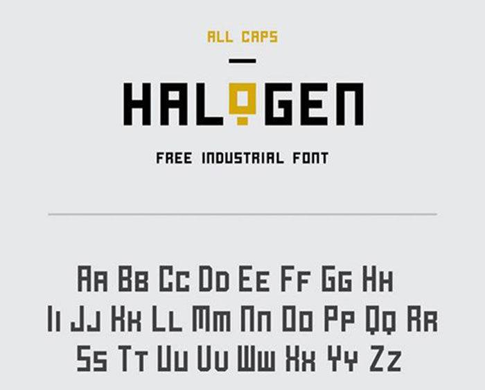 H halogen-700x563 Phông chữ công nghiệp mà bạn có thể sử dụng cho các thiết kế theo chủ đề