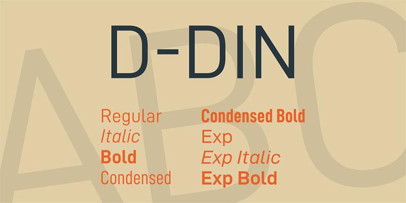 D-DIN-Font-Family Une grande liste de polices faciles à lire (à vérifier)