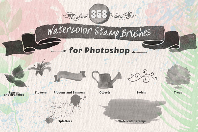 Watercolor-Photoshop-Stamp-Brushes-Artistic-skill The best Photoshop watercolor brushes you can get online