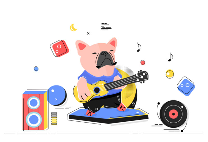 A-dog-playing-guitar Awesome dog illustration images to inspire you