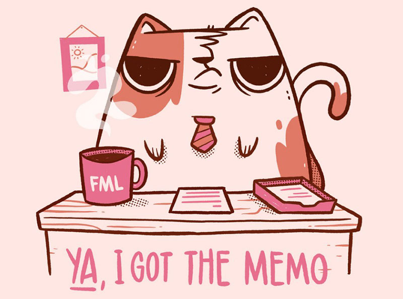 Business-Cat-I-Got-the-Memo Beautiful cat illustration examples to check out