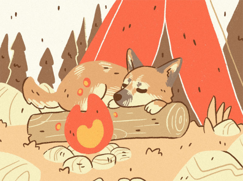 Campfire-Pup Awesome dog illustration images to inspire you