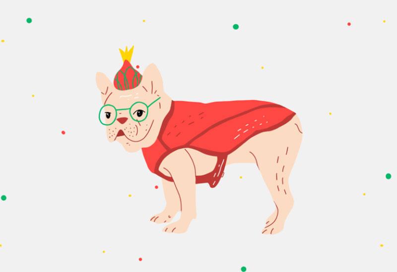 Christmas-doggie-Pug Awesome dog illustration images to inspire you