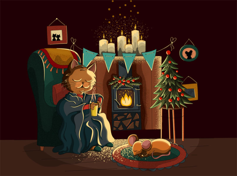 Christmas-illustration.-The-cat-and-the-mouse. Christmas illustration examples that look amazing