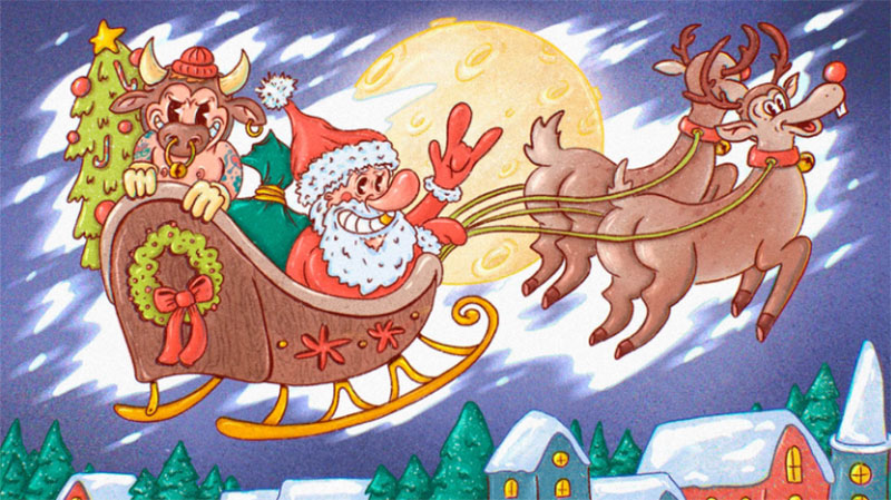 Crazy-Santa-and-Rock_n_roll-Bull-2021 Christmas illustration examples that look amazing