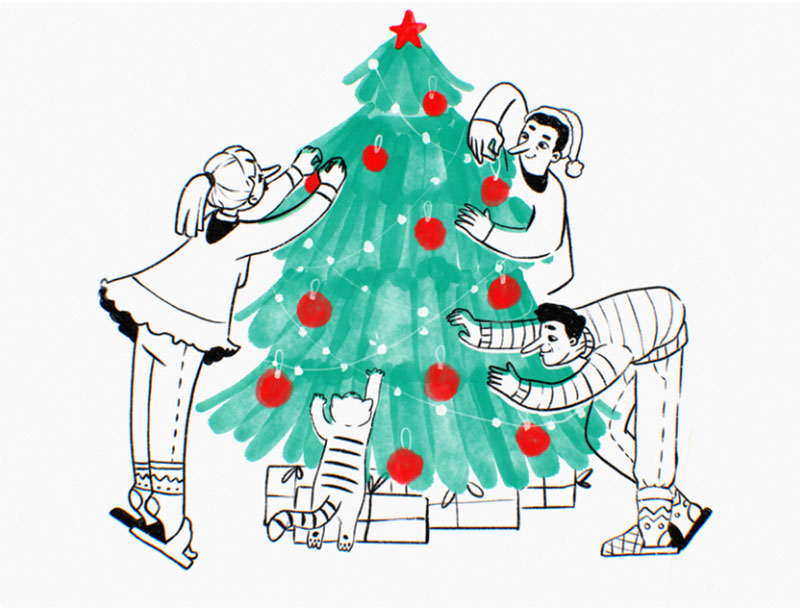 Decorating-Christmas-Tree Christmas illustration examples that look amazing