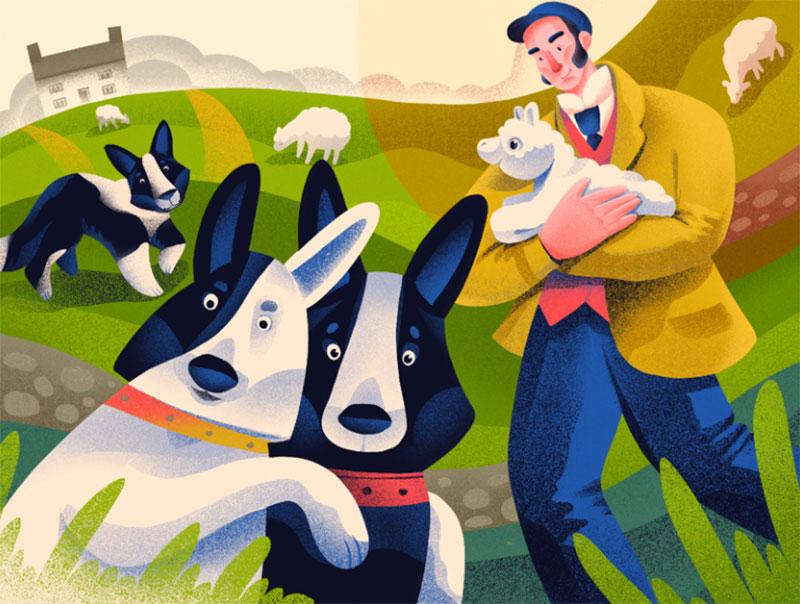 Dog-Breeds-Border-Collie Awesome dog illustration images to inspire you