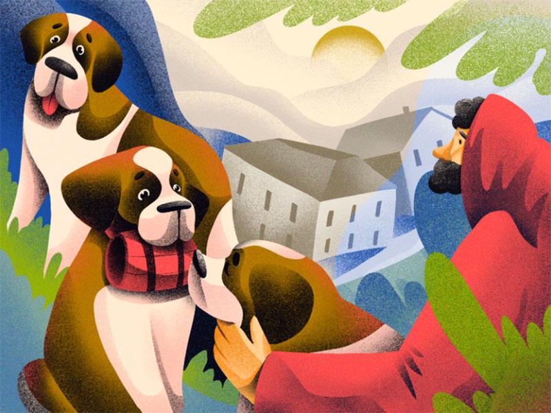 Dog-Breeds-St.-Bernard Awesome dog illustration images to inspire you
