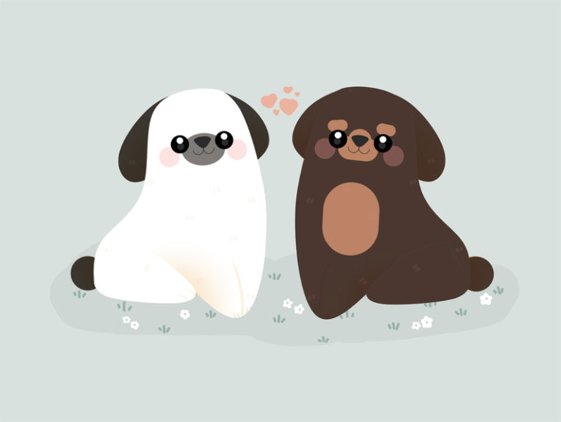 Dogs-in-love Awesome dog illustration images to inspire you