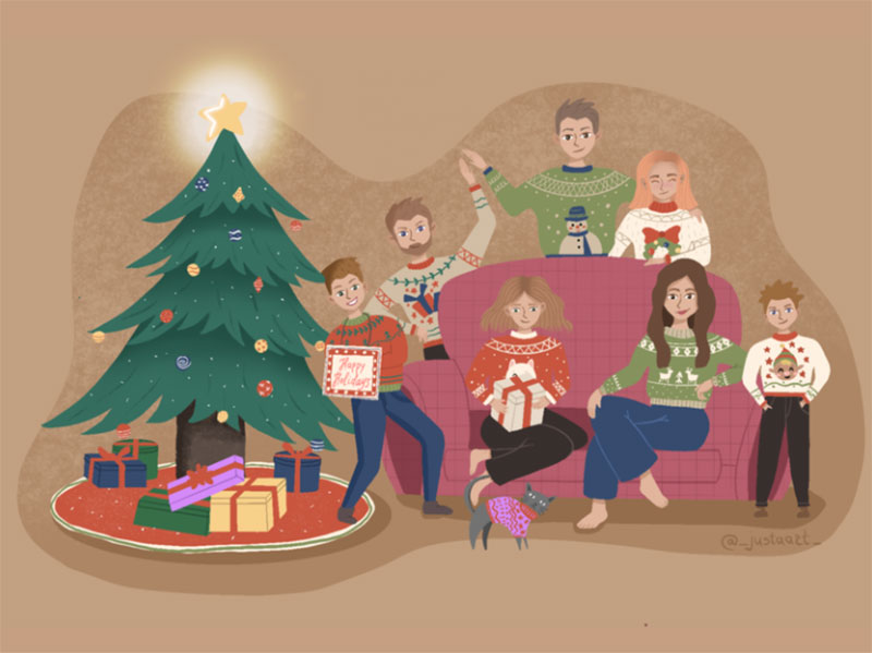 Evening-Christmas-with-family Christmas illustration examples that look amazing