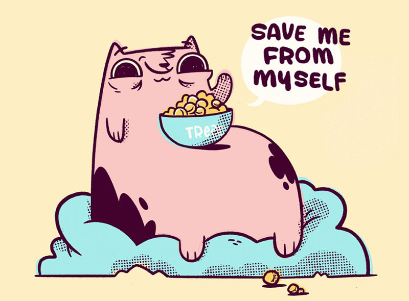 Fat-Cat-Save-Me-From-Myself Beautiful cat illustration examples to check out