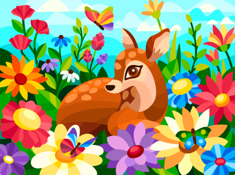 Fawn-among-flowers Dreamy spring illustration examples you must see