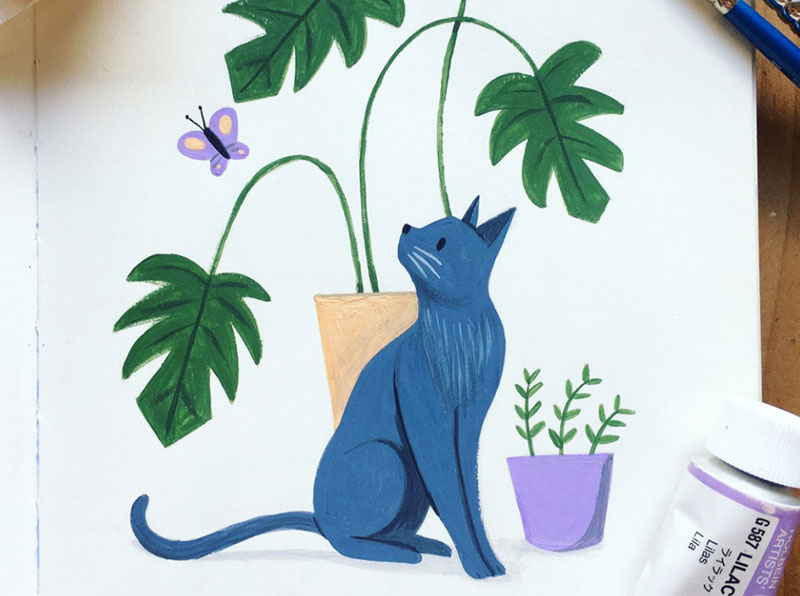 Gouache-Kitty-With-Monstera Beautiful cat illustration examples to check out