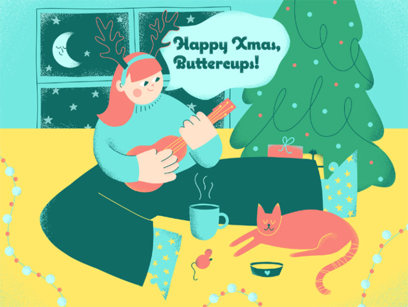 Happy-Xmas-Buttercups Christmas illustration examples that look amazing