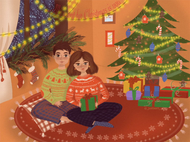 LOVE-under-the-Christmas-tree Christmas illustration examples that look amazing