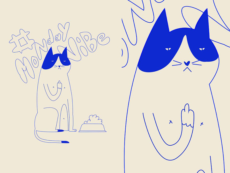 Monday-vibes Beautiful cat illustration examples to check out