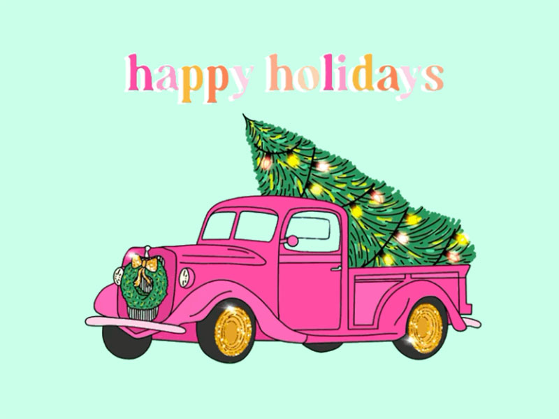 Pink-Christmas-Tree-Truck-Illustration Christmas illustration examples that look amazing