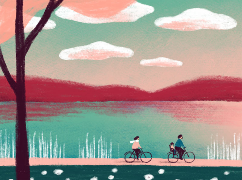Spring-ride Dreamy spring illustration examples you must see