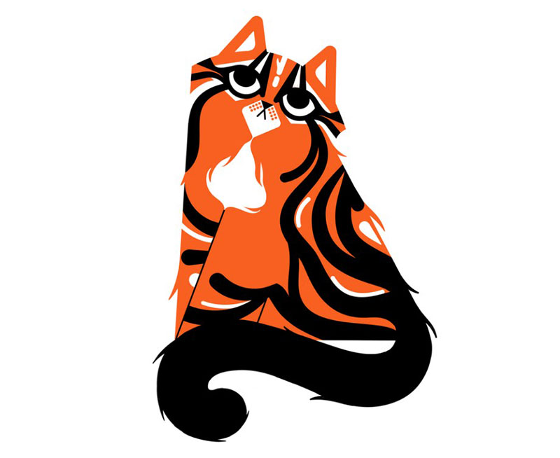 Striped-kitty Beautiful cat illustration examples to check out