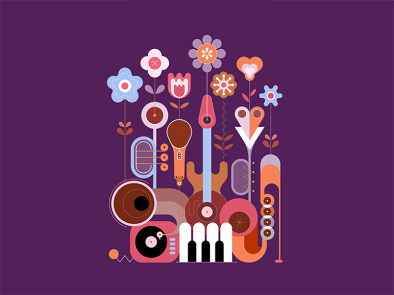 Summer-Flowers-and-Musical-Instruments Dreamy spring illustration examples you must see