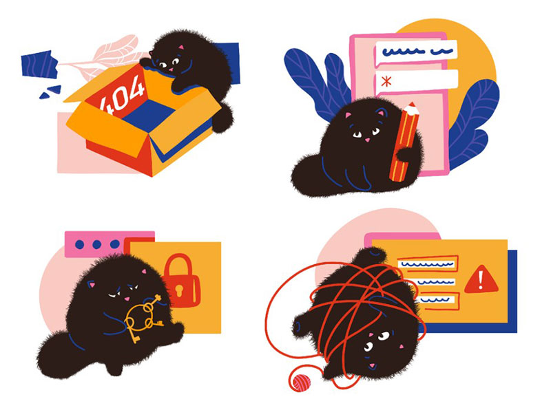 errors-illustration Beautiful cat illustration examples to check out