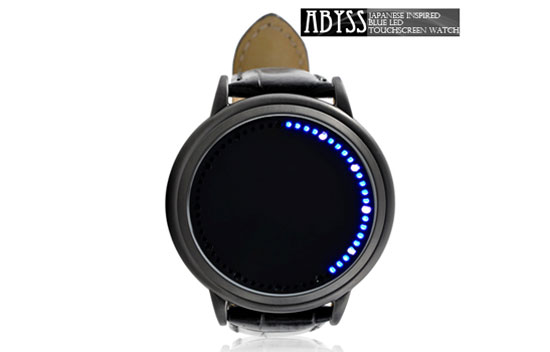 Blue LED touchscreen watch