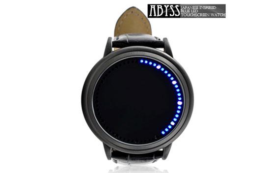 Blue LED touchscreen watch