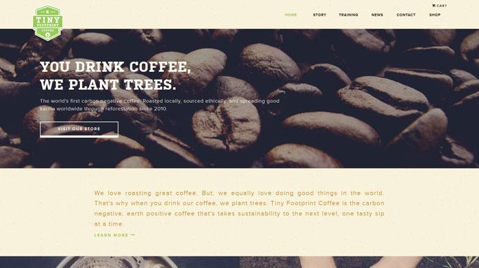 tinyfootprintcoffee.com site design