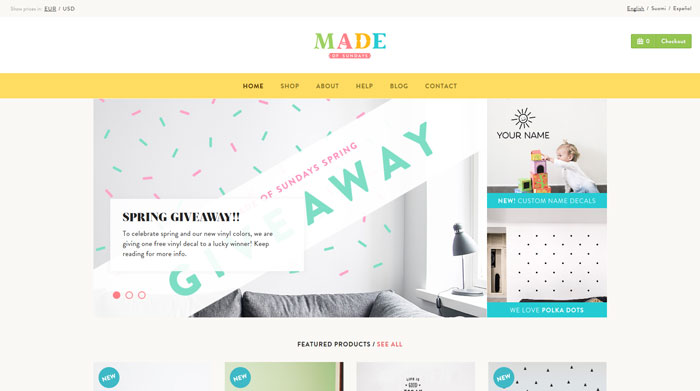 madeofsundays clean website design