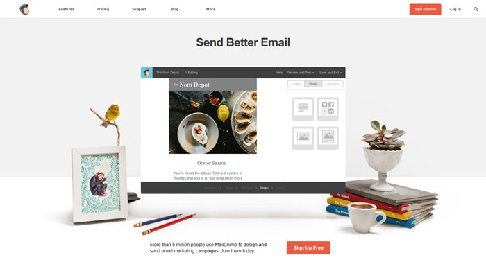 mailchimp clean website design