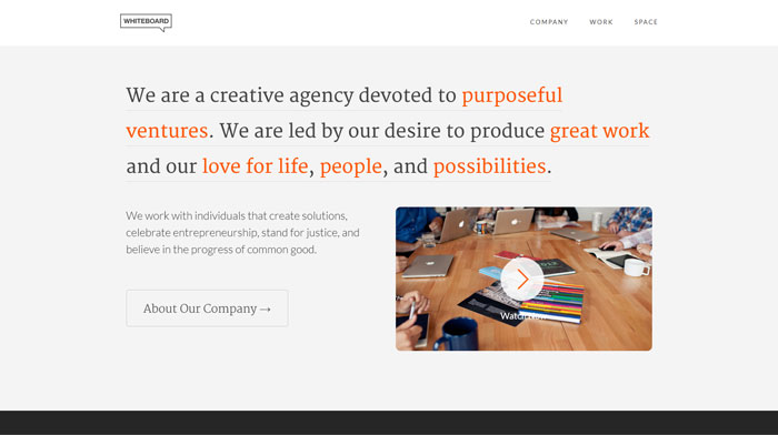 whiteboard clean website design