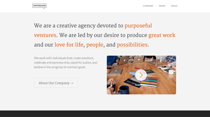 whiteboard clean website design