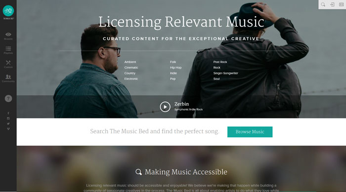 themusicbed_com 44 Website Header Design Examples and What Makes Them Good