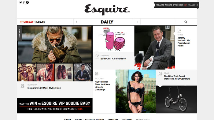 esquire.co.uk modern website design