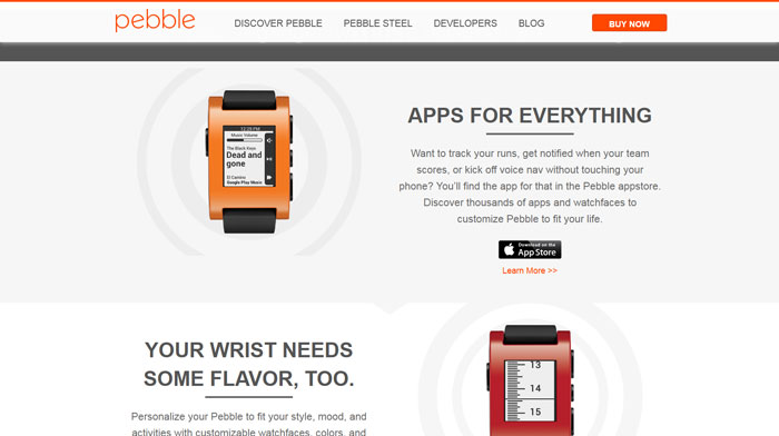 getpebble.com modern website design